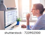 architect working on computer... | Shutterstock . vector #723902500