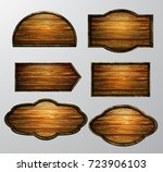 wooden signs  vector icon set | Shutterstock .eps vector #723906103