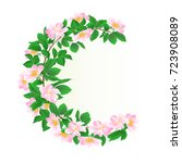 Floral Round  Frame With Wild...