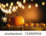 halloween or thanksgiving... | Shutterstock . vector #723909934