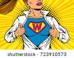 pop art female superhero. young ... | Shutterstock .eps vector #723910573