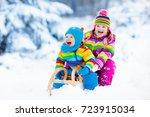 little girl and boy enjoy a... | Shutterstock . vector #723915034