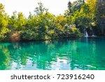 beautiful lake at plitvice ... | Shutterstock . vector #723916240