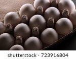 white eggs in carton box .... | Shutterstock . vector #723916804
