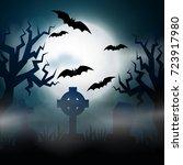 night cemetery  crosses ... | Shutterstock .eps vector #723917980