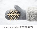 wool glove with a wooden... | Shutterstock . vector #723925474