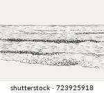 vector summer seascape sketch.... | Shutterstock .eps vector #723925918
