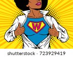 pop art female superhero. young ... | Shutterstock .eps vector #723929419