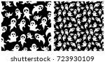 seamless of halloween pattern... | Shutterstock .eps vector #723930109