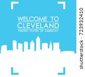 welcome to cleveland skyline... | Shutterstock .eps vector #723932410