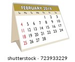 2018 february month in a desk... | Shutterstock .eps vector #723933229