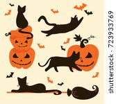 halloween cats and pumpkins.... | Shutterstock .eps vector #723933769