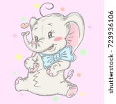 illustration with cute elephant ... | Shutterstock .eps vector #723936106