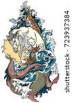 mythological sea horse...   Shutterstock .eps vector #723937384