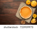 pumpkin homemade pie on wooden... | Shutterstock . vector #723939973
