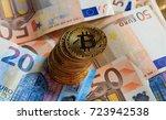 golden bitcoins stacked on euro ... | Shutterstock . vector #723942538