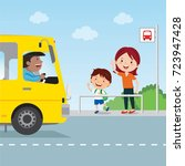 mother and child at the bus... | Shutterstock .eps vector #723947428