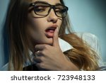 seductive blonde in glasses...   Shutterstock . vector #723948133