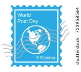 world post day in october with ... | Shutterstock .eps vector #723958564