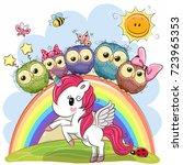 cartoon unicorn and five cute... | Shutterstock .eps vector #723965353