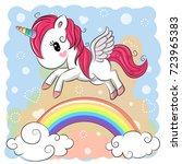 cute cartoon unicorn is flying... | Shutterstock .eps vector #723965383