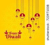 yellow happy diwali greeting... | Shutterstock .eps vector #723971038