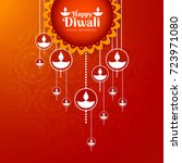 elegant shiny diwali festival... | Shutterstock .eps vector #723971080