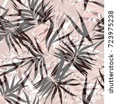 pastel floral tropical palm... | Shutterstock .eps vector #723975238