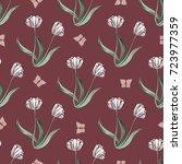 seamless retro 1940s pattern in ... | Shutterstock .eps vector #723977359