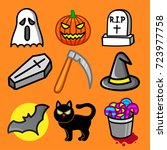 halloween vector isolated with... | Shutterstock .eps vector #723977758
