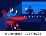 girl in the bar welcomes the... | Shutterstock .eps vector #723978283