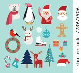 christmas set with santa claus  ... | Shutterstock .eps vector #723979906