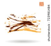 orange brush stroke and texture.... | Shutterstock .eps vector #723981484