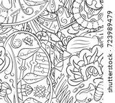 seamless mehndi vector pattern. ... | Shutterstock .eps vector #723989479