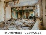 ruined house building inside... | Shutterstock . vector #723992116