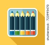 vector icon of color pencils in ... | Shutterstock .eps vector #723995470
