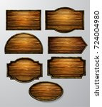 wooden signs  vector icon set | Shutterstock .eps vector #724004980