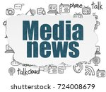 news concept  painted blue text ... | Shutterstock . vector #724008679