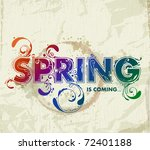 hand drawn spring lettering on...
