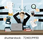 stress at work concept flat... | Shutterstock .eps vector #724019950