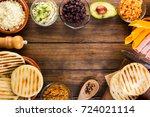venezuelan typical food  arepas ... | Shutterstock . vector #724021114