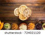 venezuelan typical food  arepas ...   Shutterstock . vector #724021120
