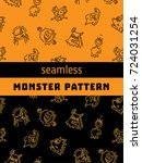 seamless pattern with monsters... | Shutterstock .eps vector #724031254