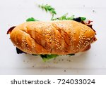 homemade fresh sandwich with... | Shutterstock . vector #724033024