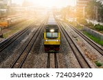yellow freight train engine... | Shutterstock . vector #724034920