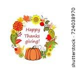 autumnal floral decorative... | Shutterstock .eps vector #724038970