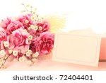 Carnation and message card for Mother's day - stock photo