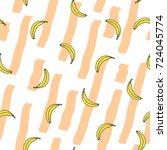 banana vector pattern with... | Shutterstock .eps vector #724045774