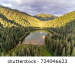 aerial view of lake synevir in... | Shutterstock . vector #724046623
