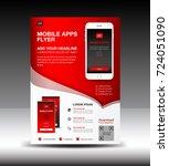 mobile apps flyer template.... | Shutterstock .eps vector #724051090